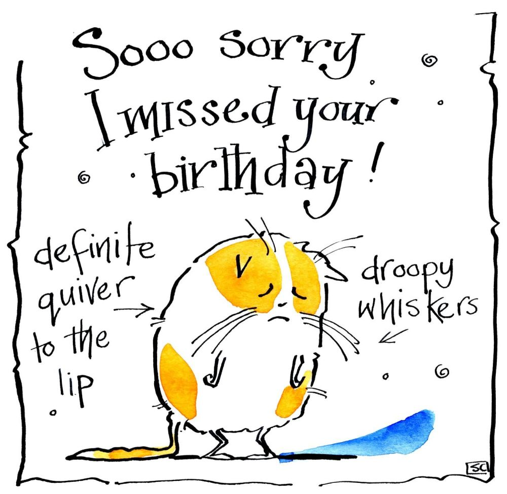 Funny cartoon cat belated Birthday card with the caption: Sooo S