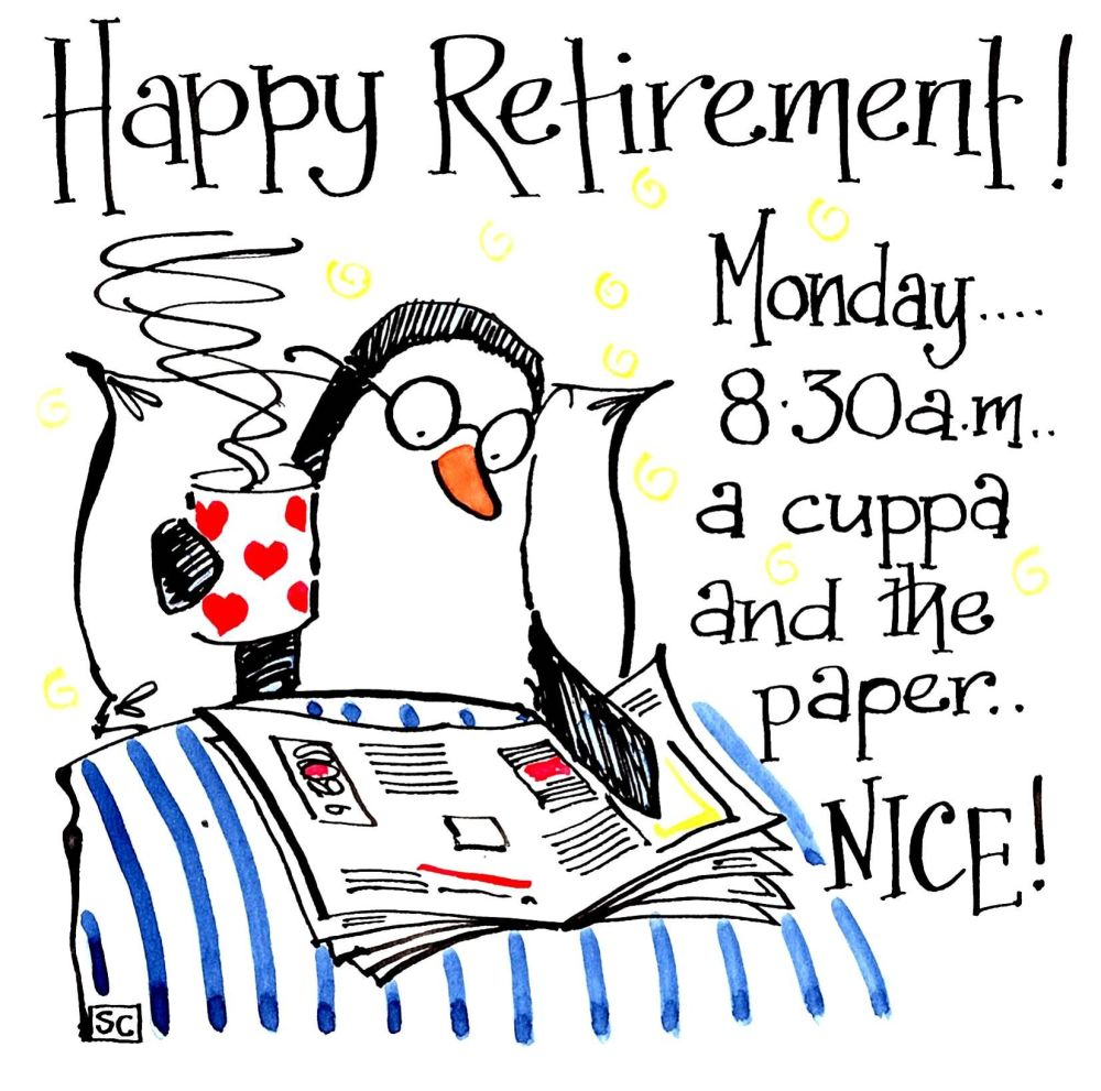 Funny Penguin Retirement card with cartoon penguin sat up in bed and captio