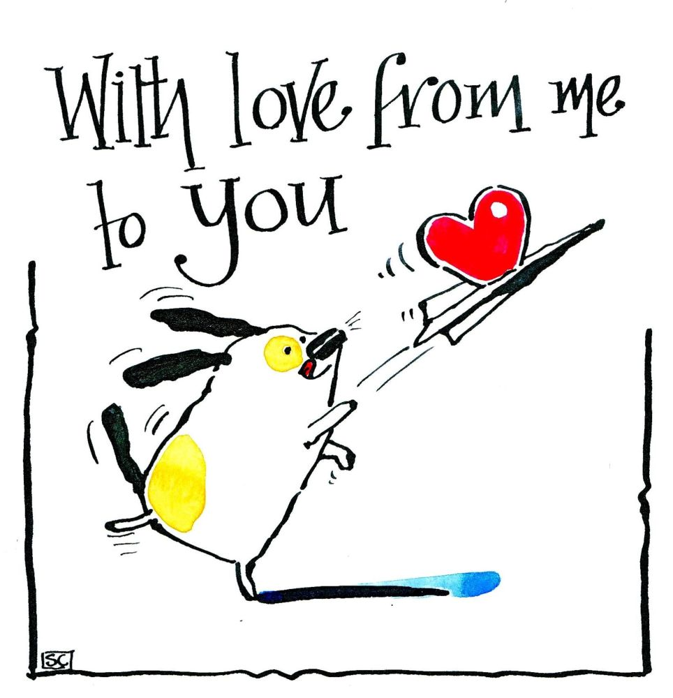 Dog greeting card - cartoon dog with paper aeroplane & heart!  With Love Fr