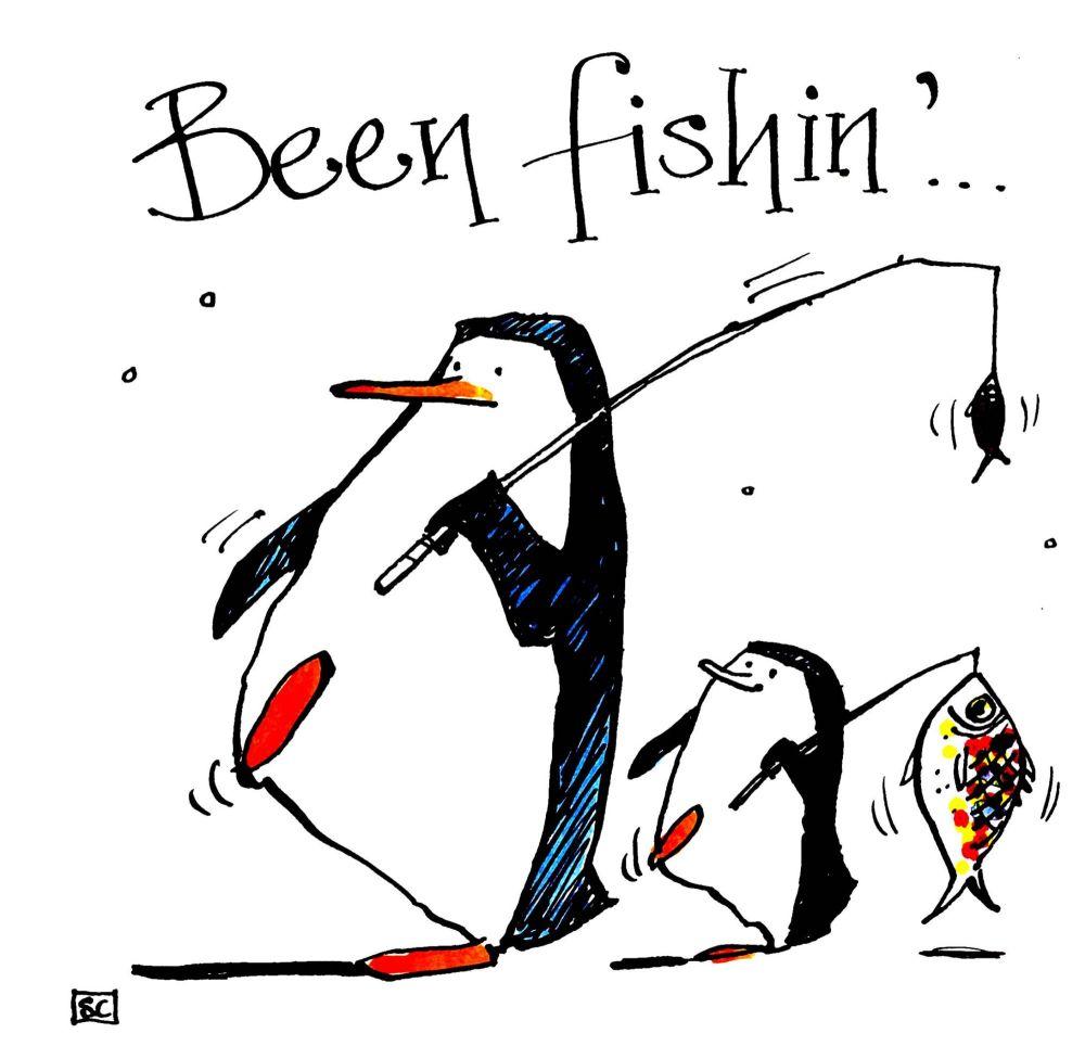 Penguin Angling Card-cartoon Penguin parent & child return from successful