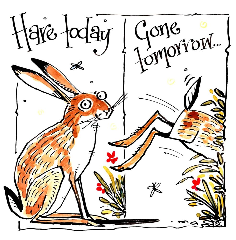 Funny leaving or retirement card with 2 pictures, one with a sitting hare &