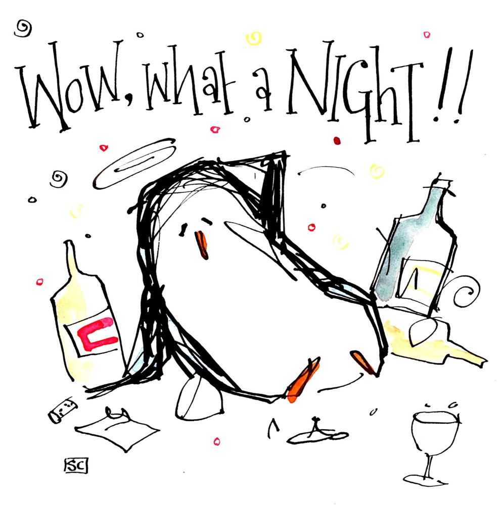 Fabulous Penguin Party Card!!  Cartoon penguin with hangover and caption Wo