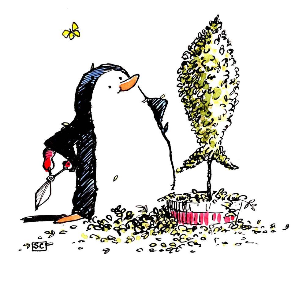 Funny Gardening Penguin Card Cartoon penguin with topiary fish. No caption