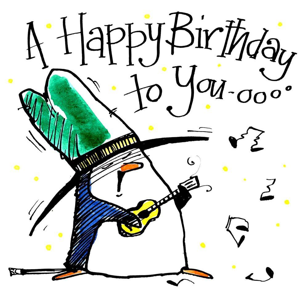 Happy Birthday  Card - Penguin Serenade cartoon penguin wi