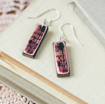 Pink mini pendant earrings