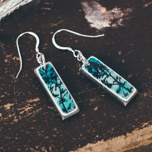 Aqua mini pendant earrings