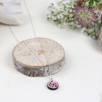 Blush pink mini circle pendant necklace