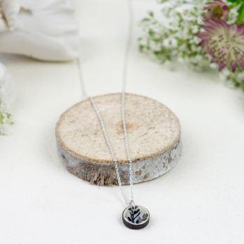 Silver green mini circle pendant necklace
