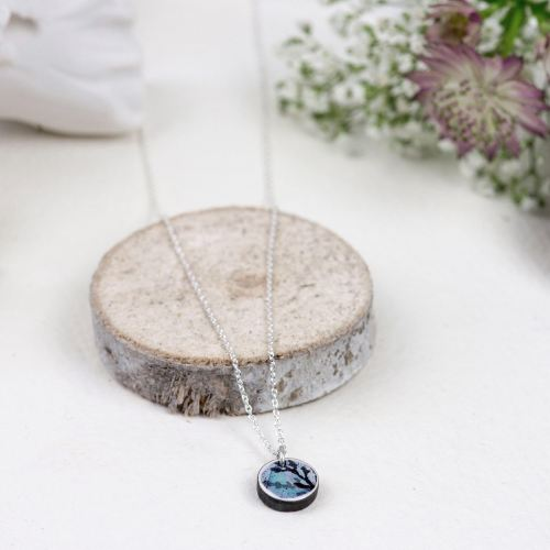 Sky blue mini circle pendant necklace