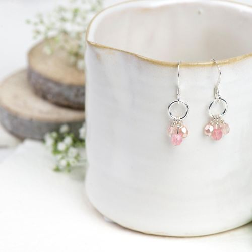 Blush pink glass bead cluster earrings