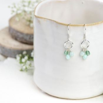 Silver green glass bead cluster earrings