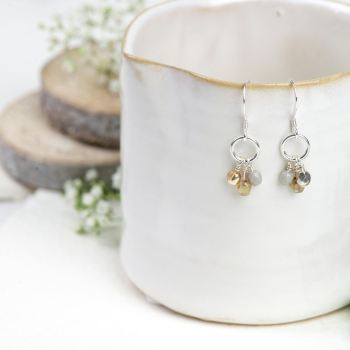Natural glass bead cluster earrings