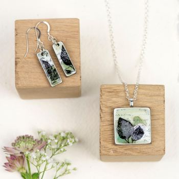 Pale Green pendant necklace and earrings set