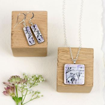 Lilac pendant necklace and earrings set