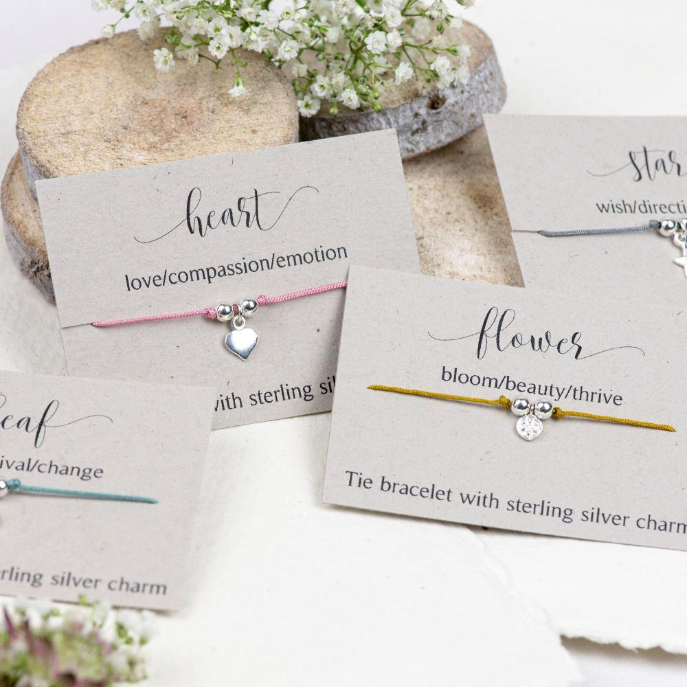 Affirmation tie bracelets