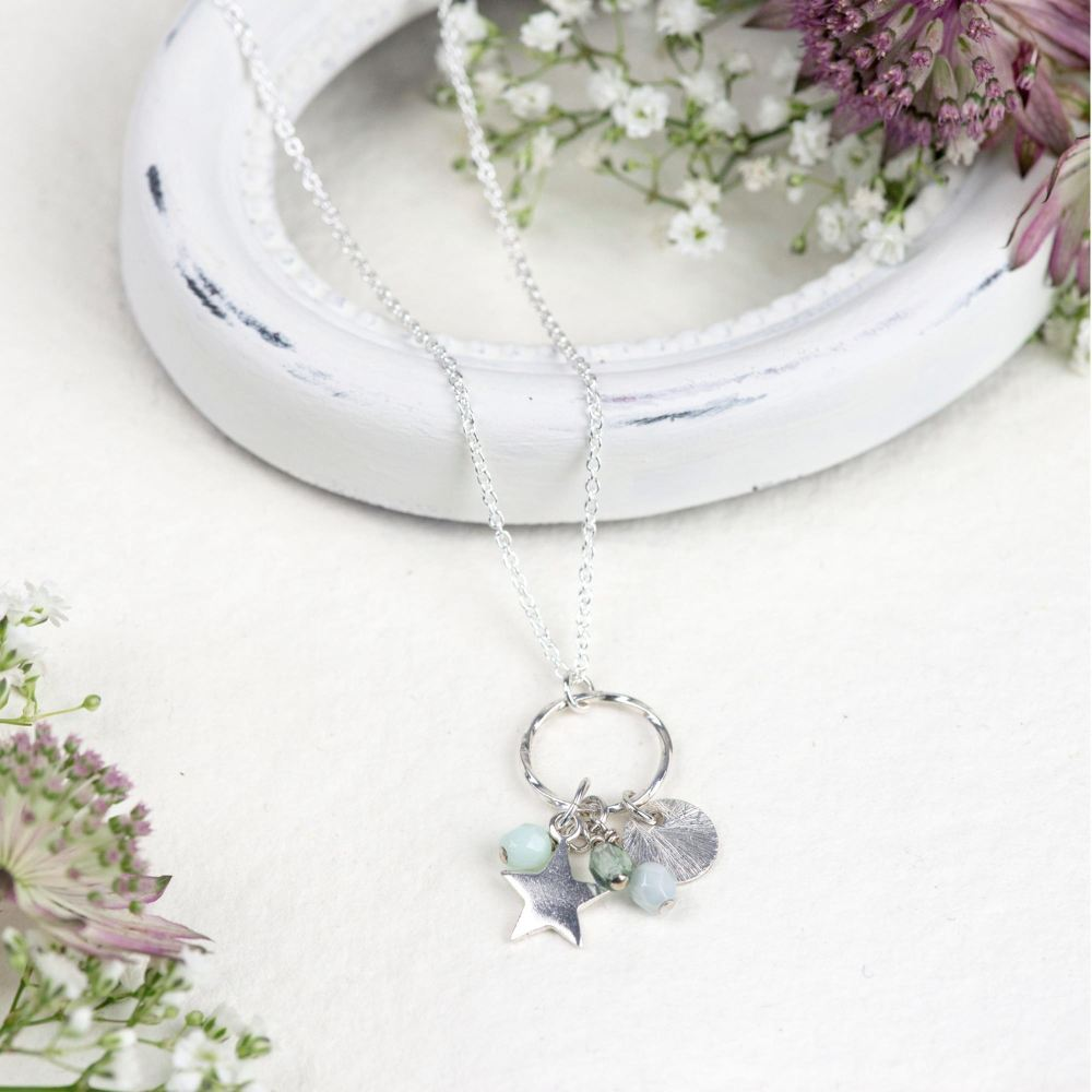 SIlver green 'elements' necklace