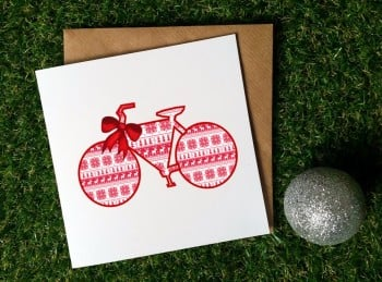 Cycling Christmas Card - Christmas Bike (wrapped)