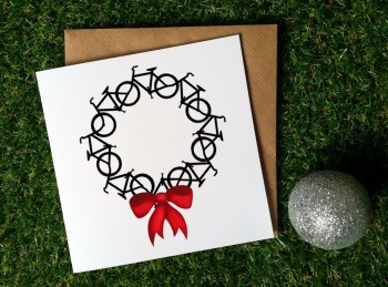 Cycling Christmas Card - Cycling wreath