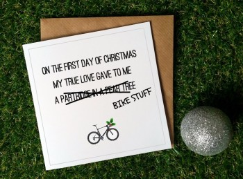 Cycling Christmas Card - On the first day (bike stuff)
