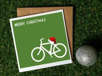 Cycling Christmas Card - Green Christmas Bike