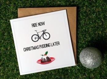 Cycling Christmas Card - Ride now Christmas Pudding