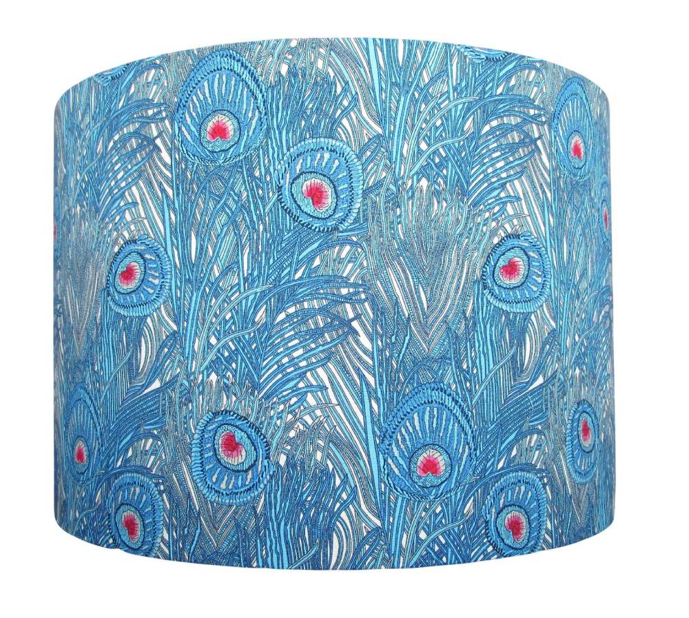 Blue peacock feather lampshade handmade in the UK