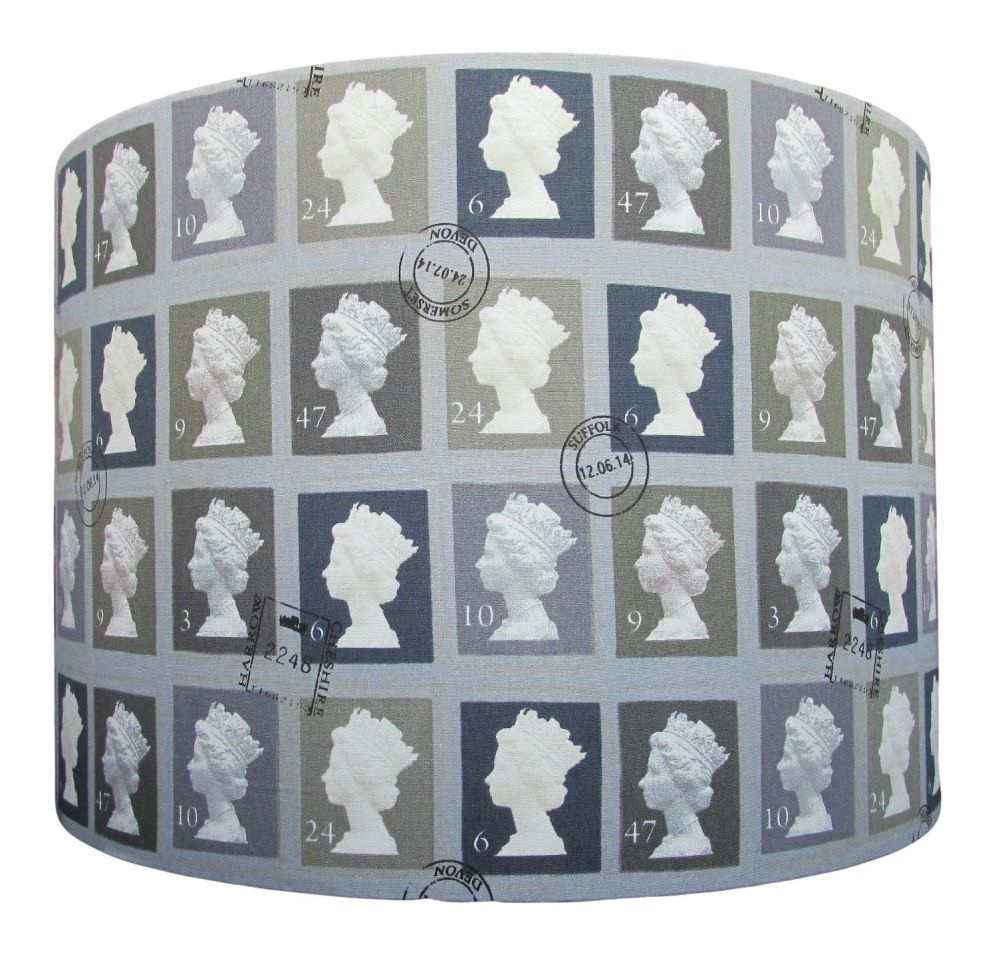 Grey handmade lampshade with postage stamp design