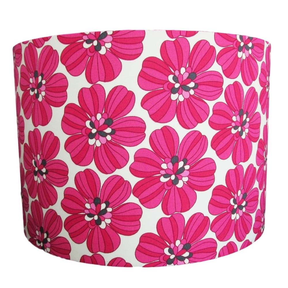 colourful bold Retro pink flower lampshade