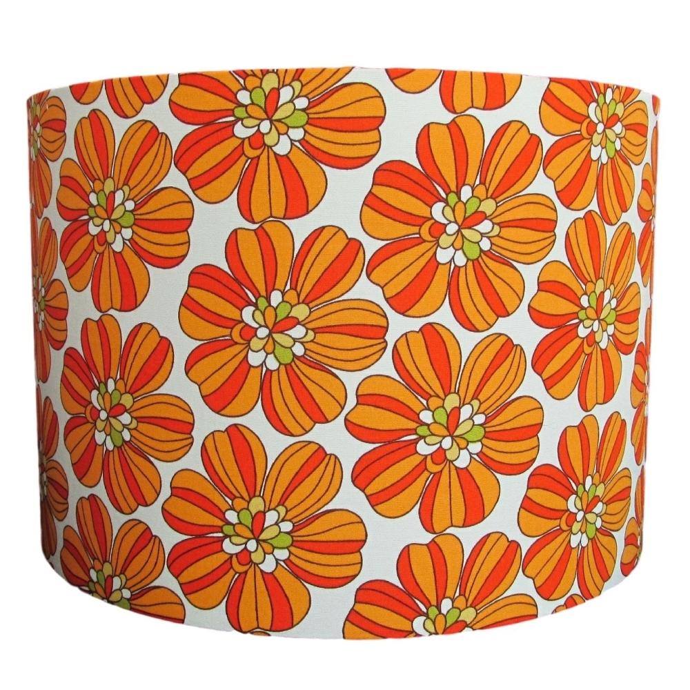 Retro orange bold flower lampshade handmade in the UK
