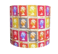 Colourful postage stamp lampshade