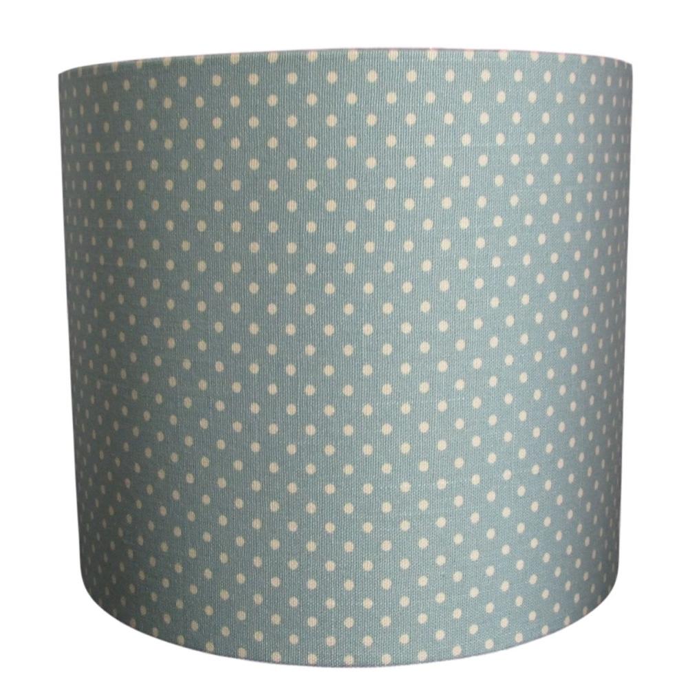 Soft green polka dot lampshade handmade in the UK