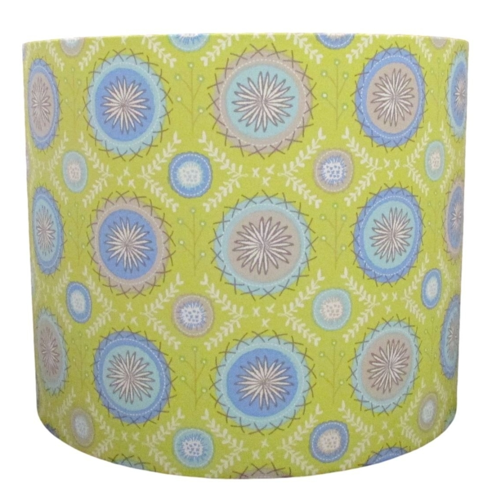 Stylised circles lampshade on a lime green background