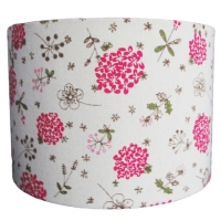 Linen look lampshade with bold pink flowers