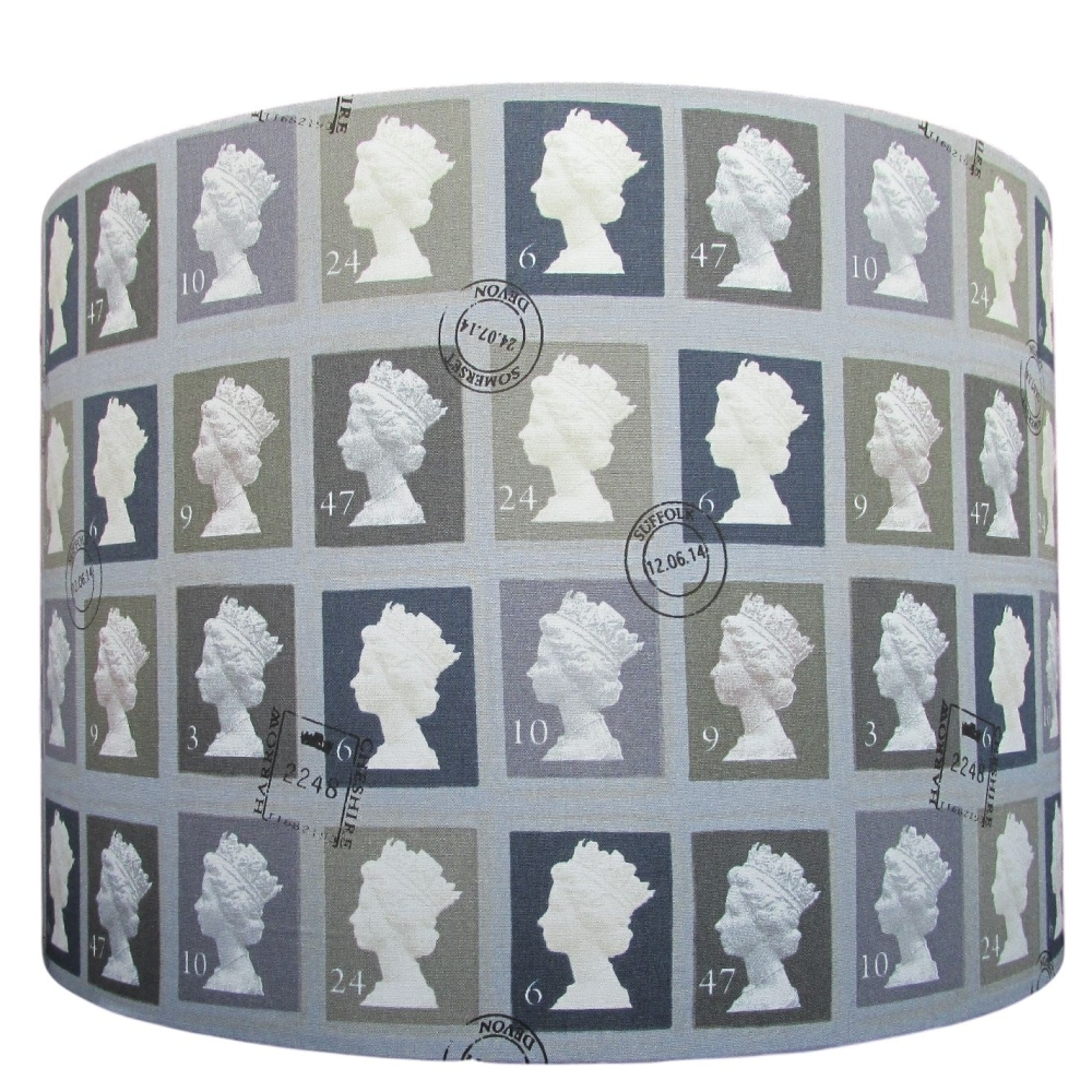 Grey postage stamp 25cm diameter lampshade (for lamp) NOW £25.00