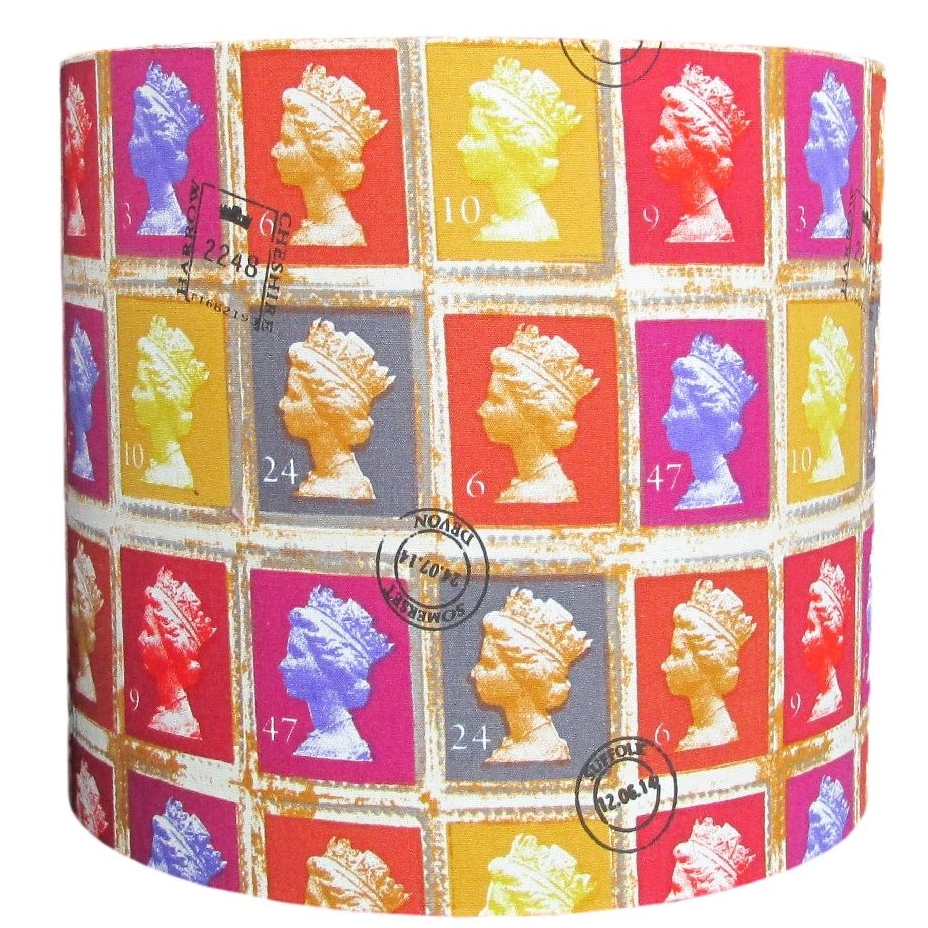 Colourful postage stamp 20cm diameter lampshade (for lamp) NOW £20