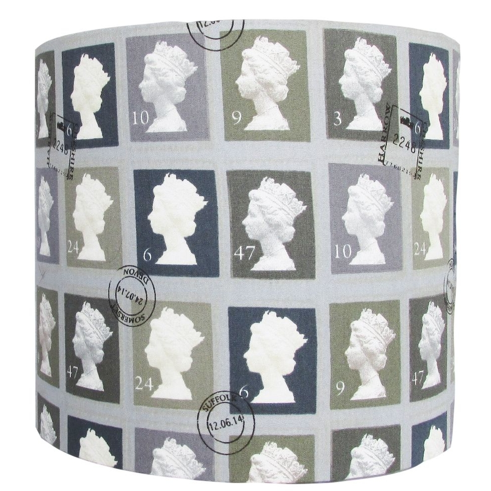 Grey postage stamp 20cm diameter lampshade (for lamp) NOW £20.00