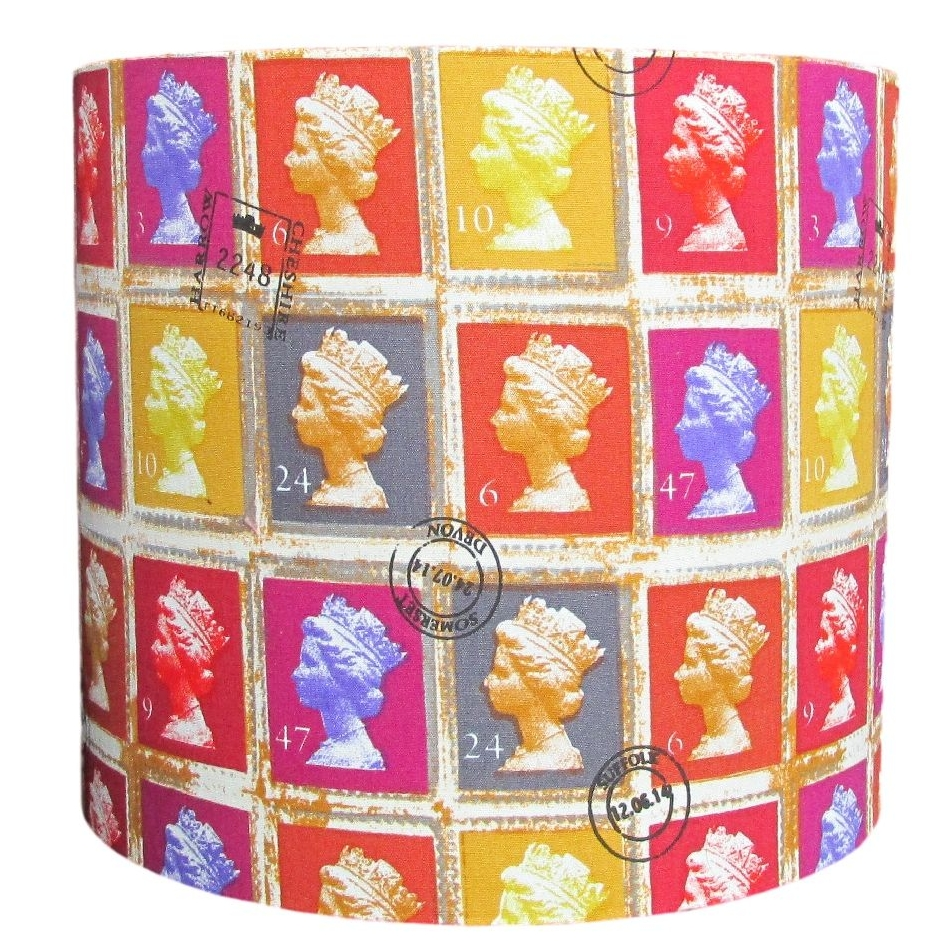 Colourful postage stamp 30cm diameter lampshade (for lamp) NOW £29