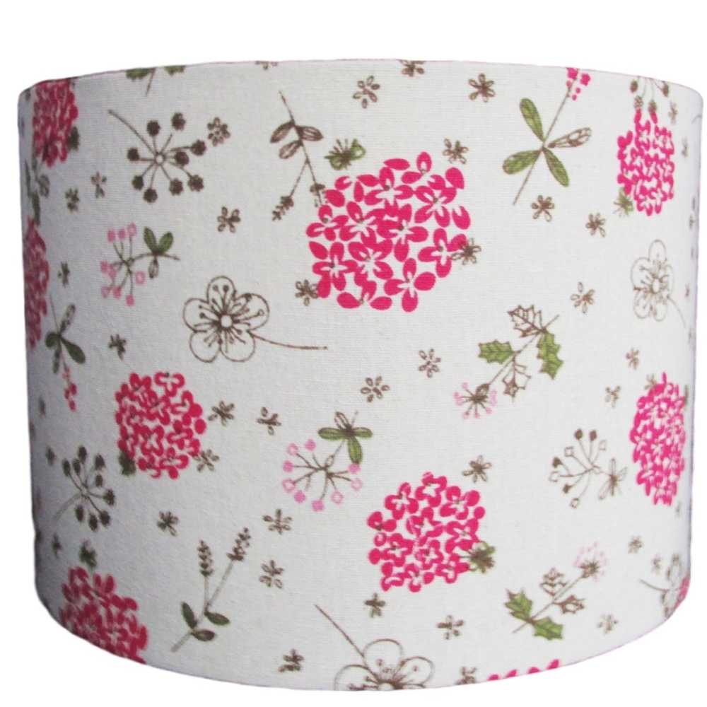 Linen look 30cm diameter lampshade with bold pink flowers (lamp or ceiling)