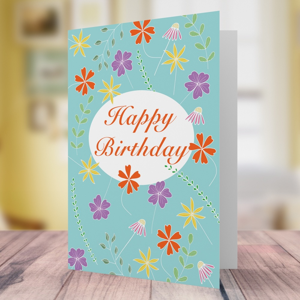 Floating flowers birthday card