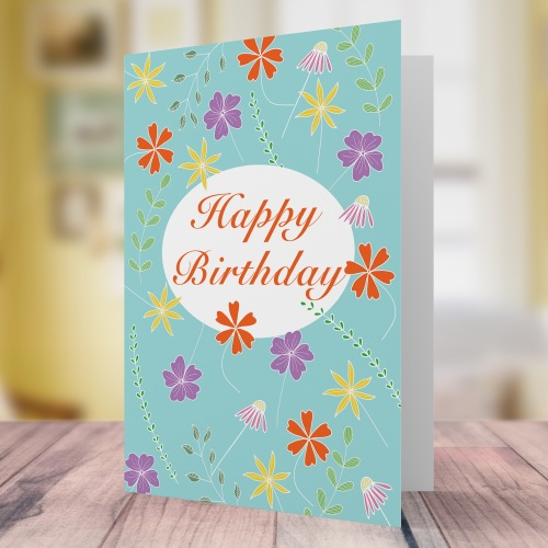 Floating flowers birthday card