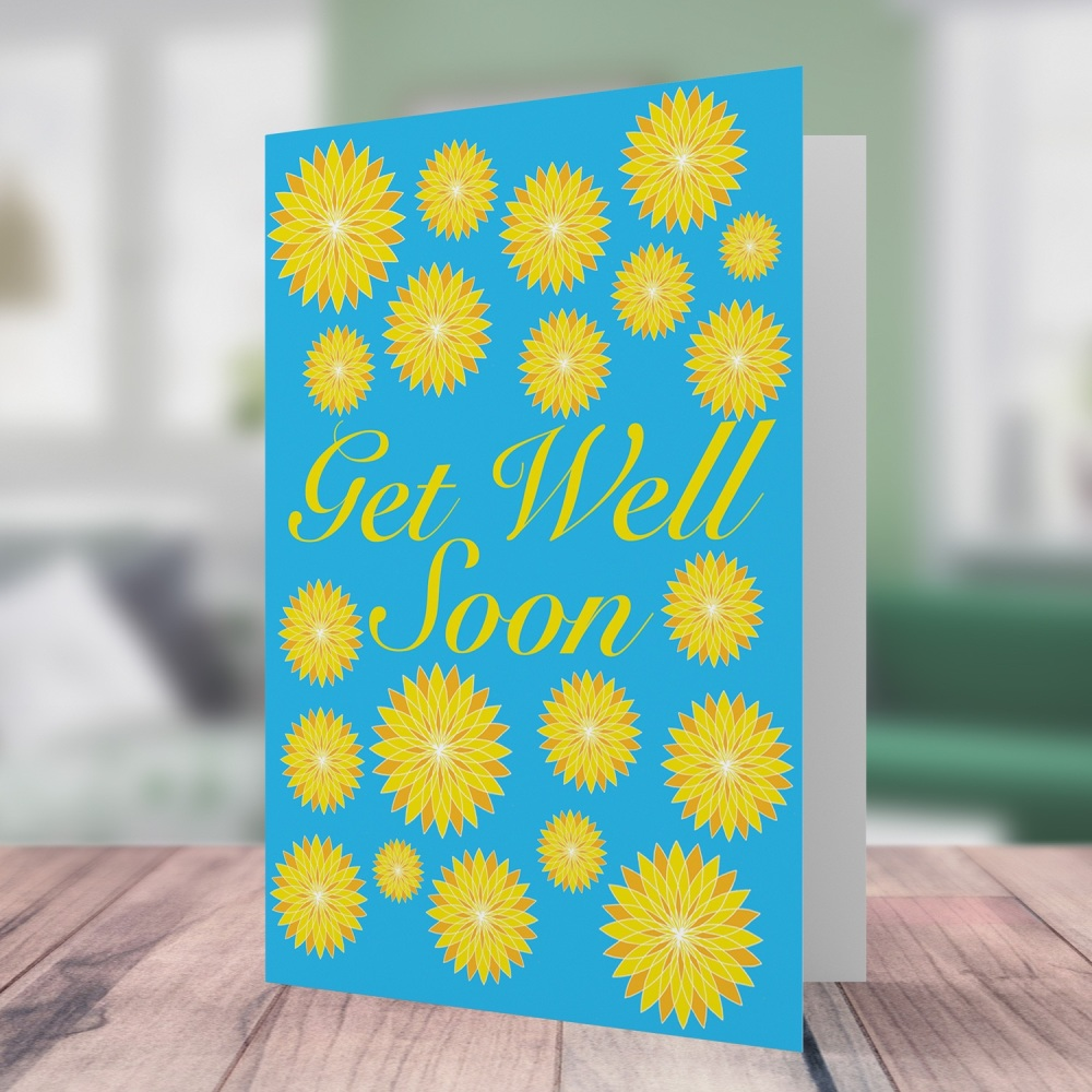 Yellow flower get well soon card