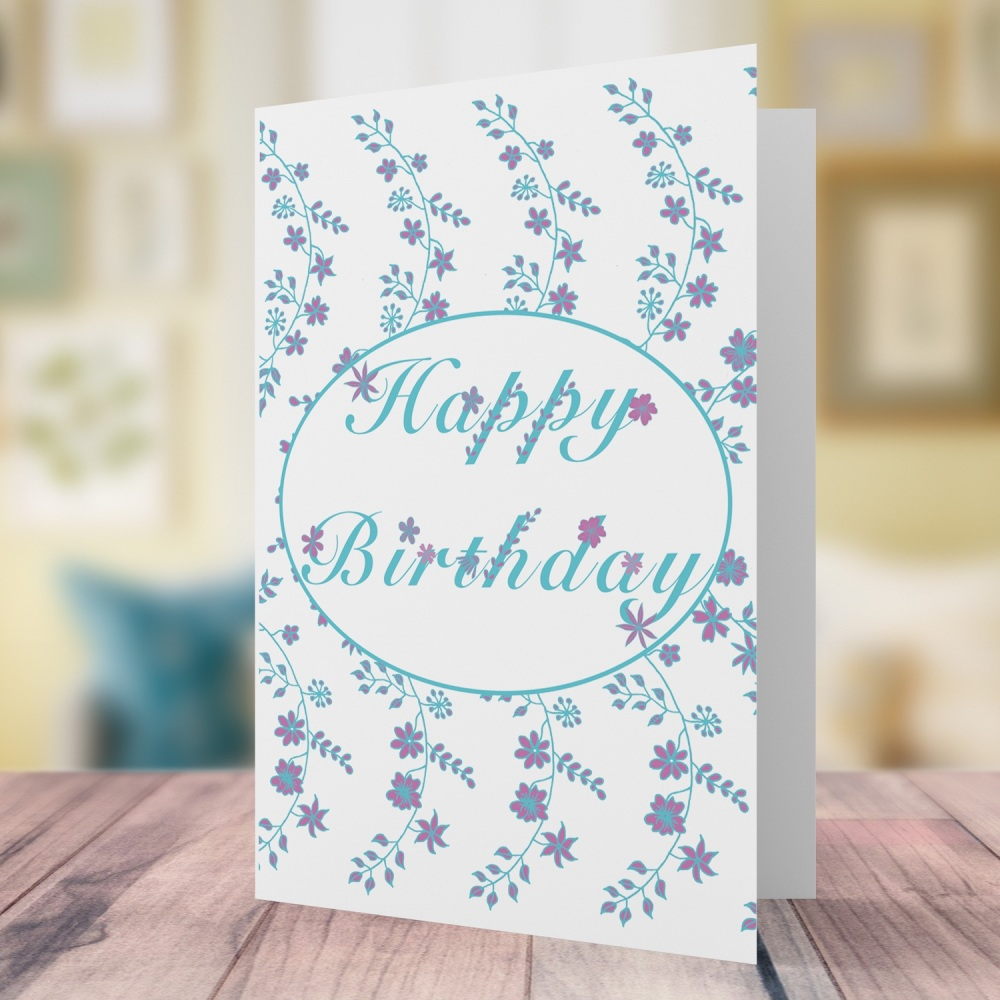 Floral swag birthday card