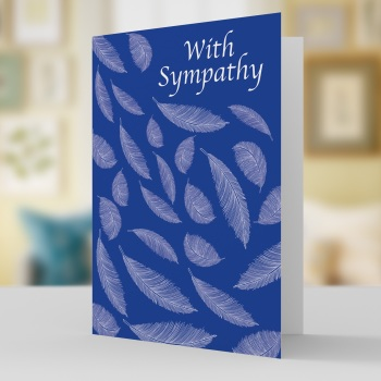 Sympathy card with floating feathers
