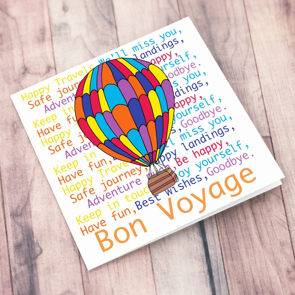 Bon Voyage Hot Air Balloon Card
