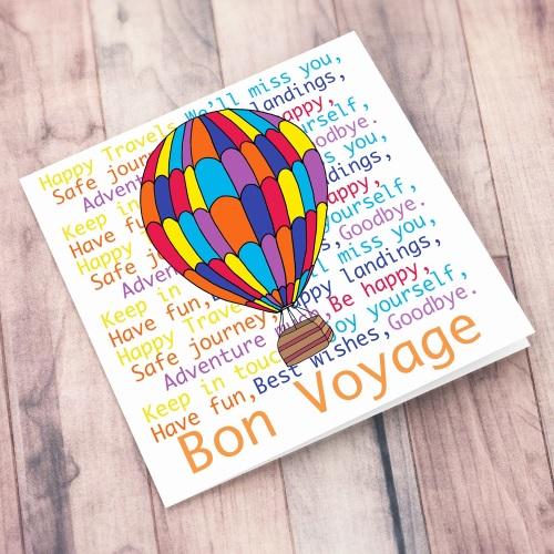 Bon Voyage Hot Air Balloon Card