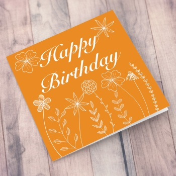 Orange Meadow Flowers Happy Birthday Card