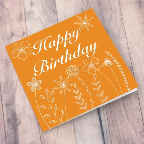 Orange Meadow Flowers Happy Birthday Card