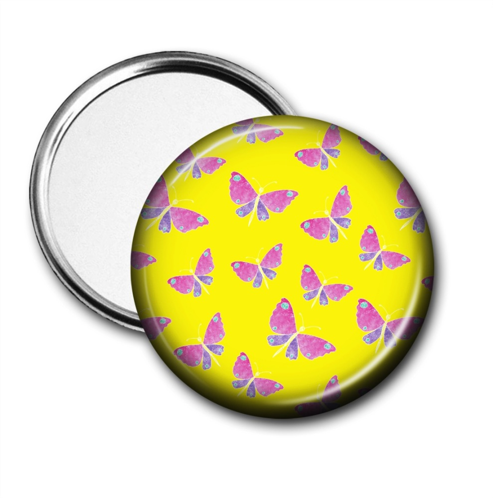 Pocket Mirror with pink and purple butterflies on a yellow background