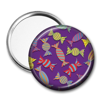 Pocket mirror with sweeties on a purple background