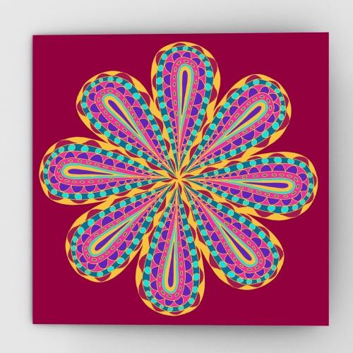 Fantastical flower greeting card, red